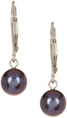 Splendid Pearls 14K White Gold & 7-7.5mm Black Freshwater Pearl Dangle Earrings
