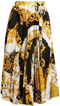 Versace Barocco Acanthus Printed Pleated Midi Skirt