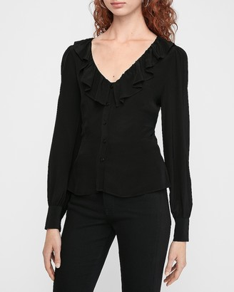 Express Ruffle V-Neck Peplum Shirt