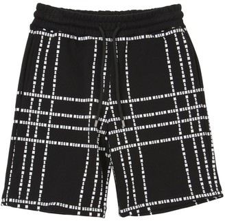 MSGM Logo Printed Cotton Sweat Shorts