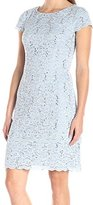 Alex Evenings Women's Short Cap Sleeve with Two Tiered Hem and Sequin Detail