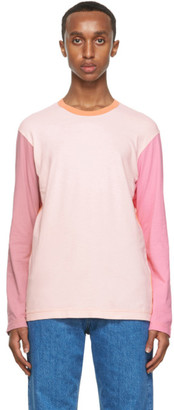 Comme des Garçons Shirt Pink and Orange Colorblock Logo Long Sleeve T-Shirt