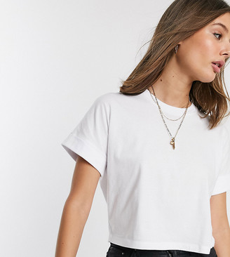 Asos Tall DESIGN Tall crop t-shirt with roll sleeve in white