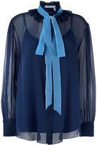 See by Chloe velvet collar blouse - women - Polyamide/Polyester - 42