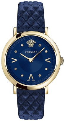 Versace Pop Chic Lady Stainless Steel Leather Strap Analog Watch