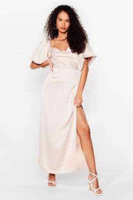 Nasty Gal Womens Sleek Love Satin Maxi Dress - Oyster