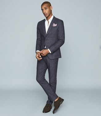 Reiss Prima - Linen Wool Blend Slim Fit Blazer in Navy