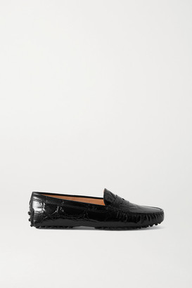 Tod's Gommino Croc-effect Leather Loafers - Black