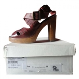 Chloé Burgundy Leather Sandals