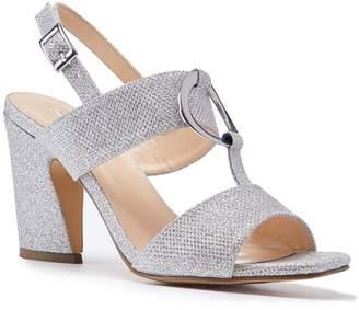 Paradox London Harding Silver Glitter High Block Heel Sandals