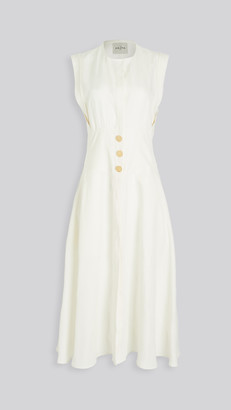 Le Kasha Dishna Linen Dress with Gold Buttons