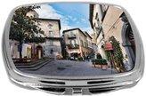 Rikki Knight Compact Mirror, Italy Narrow Street with Small Shops, 3 Ounce