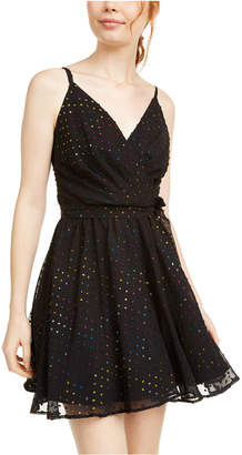 As U Wish Juniors' Multicolored Metallic-Dot Chiffon Dress
