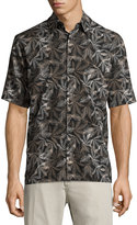 Neiman Marcus Leaf-Print Short-Sleeve Shirt, Black