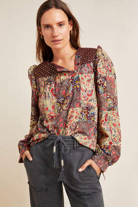 Antik Batik Patsie Embroidered Patchwork Blouse