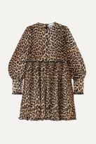 Ganni Leopard-print Plisse-georgette Mini Dress