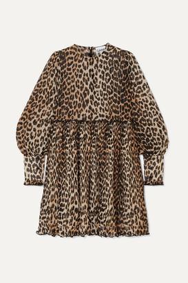 Ganni Leopard-print Plisse-georgette Mini Dress - Leopard print