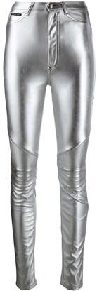 Philipp Plein High-Waisted Biker Trousers