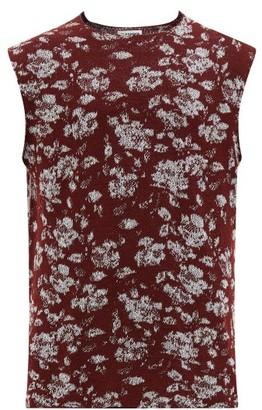 Jil Sander Floral-jacquard Sleeveless Sweater - Mens - Red