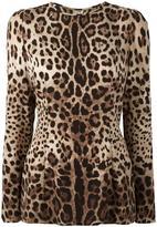 Dolce & Gabbana leopard print top - women - Silk/Spandex/Elastane - 46