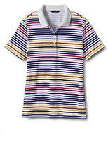 Classic Women's Plus Size Pima Polo Shirt-White Multi Stripe
