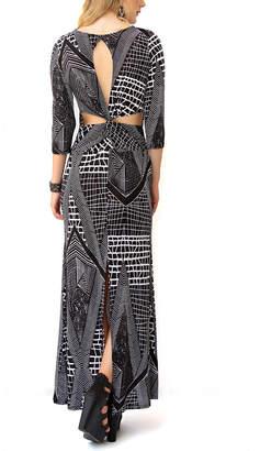 Modern Touch Women's Maxi Dresses BLACK - Black & Gray Geometric Maxi Dress - Women