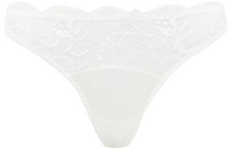 Fleur of England Signature Lace-trimmed Silk-blend Thong - White