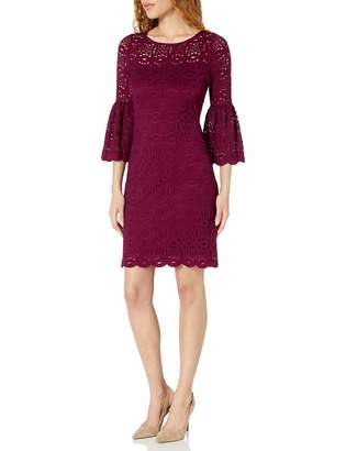 Ronni Nicole Women's Bell Sleeve Textured lace Shift