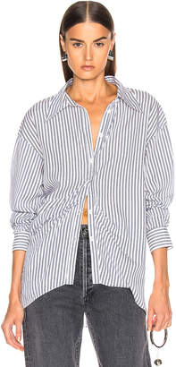 Tibi Draped Shirting Top in Blue Stripe | FWRD