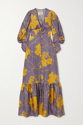 Evi Grintela Politeness Tiered Floral-print Silk-twill Maxi Dress - Lilac