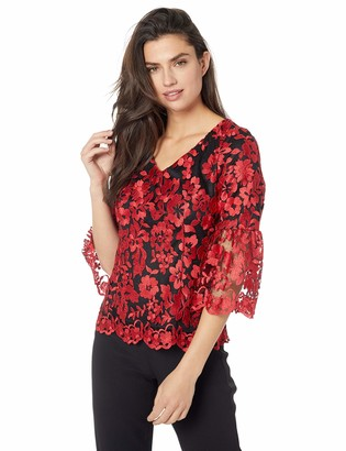 Alex Evenings Women's 3/4 Embroidered V-Neck Blouse Bell Sleeves