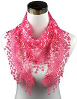 TONSEE Lightweight Triangle Floral Fashion Lace Fringe Scarf Wrap for Women
