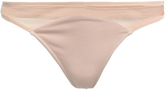 Skin Onella Tulle-paneled Stretch Pima Cotton-jersey Mid-rise Thong
