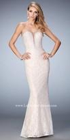 La Femme Triple Strap Lace Embellished Prom Gown