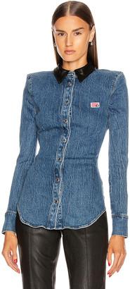 Alexander Wang Leather Collar Denim Shirt in Deep Blue | FWRD