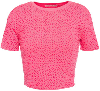 Alice + Olivia Ciara Cropped Crystal-embellished Knitted Top