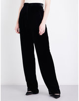 Theory Pleated wide-leg velvet trousers