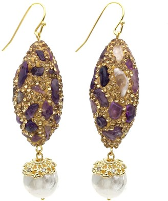 Farra Rhinestones Bordered Amethyst Drop Earrings