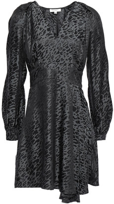 Equipment Asymmetric Leopard-print Silk-blend Jacquard Mini Dress