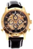 Lindberg & Sons SK14H008 - wrist watch for men - skeleton - automatic movement - analog display - black leather bracelet