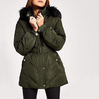 River Island Khaki faux fur hood belted puffer coat
