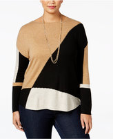 INC International Concepts Plus Size Colorblocked Tunic Sweater, Only at Macy's