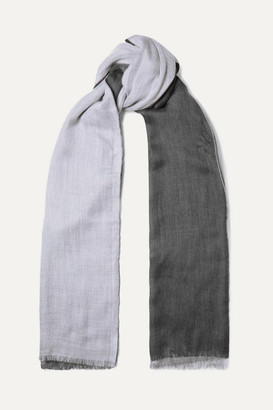Loro Piana Aylit Nuvola Pure Striped Cashmere And Silk-blend Scarf - Gray
