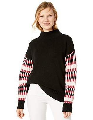 Cable Stitch Women's Dropped Shoulder Contrast Sleeve Sweater
