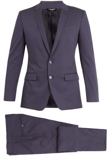 Dolce & Gabbana Martini Peak Lapel Stretch Cotton Suit - Mens - Blue