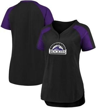 Women's Fanatics Branded Black/Purple Colorado Rockies Iconic League Diva Raglan V-Neck T-Shirt