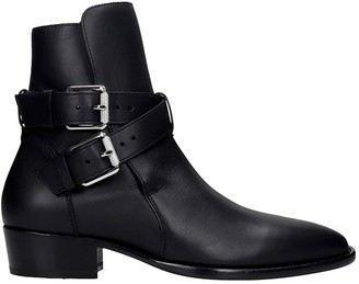 Amiri Buckle Boot Low Heels Ankle Boots In Black Leather