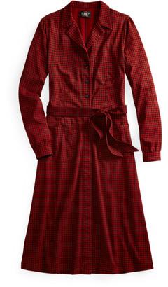 Ralph Lauren Belted Houndstooth Cotton Shirtdress