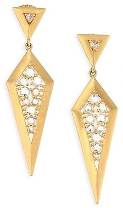 Bavna 18K Gold & Diamond Drop Earrings