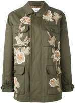 Valentino floral detail military coat - women - Cotton/Silk/Viscose - 42